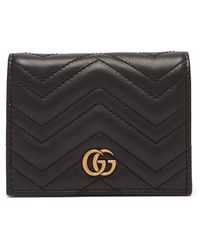 Gucci - Calfskin Matelasse GG Marmont Card Case Black - Lyst