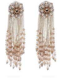 Oscar de la Renta Fringed Beaded Clip Earrings - Metallic