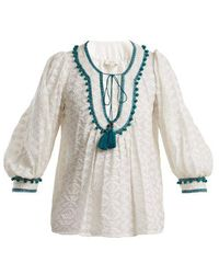 Talitha - Zipzag Embroidered Cotton And Silk-blend Shirt - Lyst