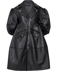 Simone Rocha Puff-sleeve Leather Biker Coat - Black