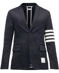 Thom Browne 4bar コットンツイル シングルジャケット - ブルー