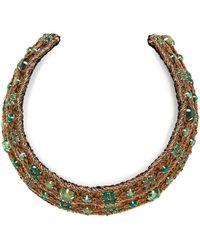 Rebecca de Ravenel Carmen Embellished Collar - Green