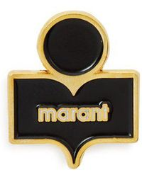 Isabel Marant - - Logo Embellished Gold Tone Brass And Resin Brooch - Womens - Black - Lyst
