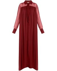 By. Bonnie Young - - Long Sleeved Silk Chiffon Gown - Womens - Burgundy - Lyst