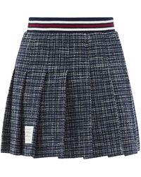 Thom Browne Pleated Check Cotton-blend Tweed Mini Skirt - Blue