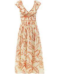 Le Sirenuse Frida Ruffled Floral-print Cotton Dress - Multicolour