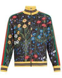 Gucci - New Flora-print Web-trimmed Jersey Jacket - Lyst