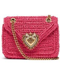 Dolce & Gabbana Sac porté épaule imitation raphia Devotion mini - Multicolore