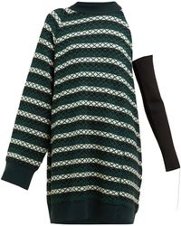 Raf Simons - One Shoulder Striped Wool Blend Jumper - Lyst