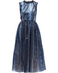 Emilia Wickstead Maidy Python-print Pvc Dress - Blue