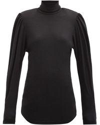 Isabel Marant Gavina High-neck Balloon-sleeve Wool Top - Black