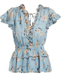 Rebecca Taylor - Floral Print Ruffled Silk Blend Blouse - Lyst