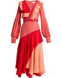 827e733c46 Peter Pilotto - Contrast Panel Ruffled Silk Dress - Lyst