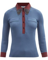 Chloé Chloé フローラルモチーフ リブコットンジャージーセーター - ブルー
