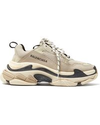 Balenciaga Triple S Logo-embroidered Leather, Nubuck And Mesh Sneakers - Natural