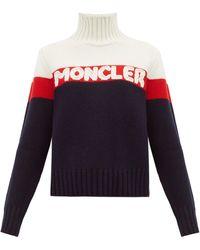 Moncler ロゴジャカード ストライプ ウールブレンドセーター - ブルー