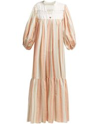 LOVE Binetti Light My Fire Striped Cotton Maxi Dress - Orange