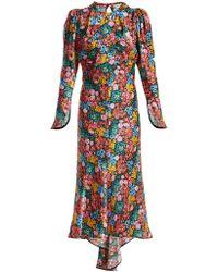 Attico   Floral-print Bias-cut Silk-satin Dress   Lyst