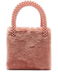Shrimps - - Una Faux Pearl Embellished Faux Fur Bag - Womens - Pink - Lyst