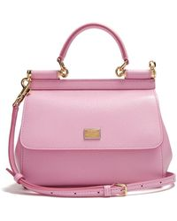 Dolce & Gabbana Sicily Small Dauphine Leather Bag - Pink