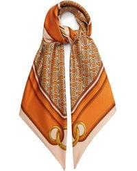 Burberry Tb シルクツイルスカーフ - オレンジ