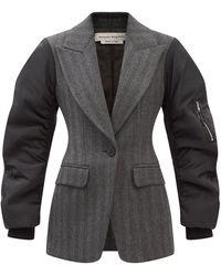 Alexander McQueen ファイユ&ウールブレンド ツイルジャケット - グレー