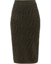 Fendi Ff Vertigo-jacquard Knit Pencil Skirt - Green