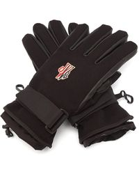 3 MONCLER GRENOBLE Logo-patch Shell And Leather Gloves - Black