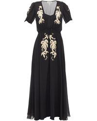 Saloni レア エンブロイダリー シルククレープドレス - ブラック