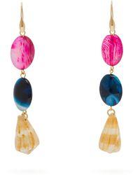 Carolina Herrera Stone & Shell-drop Earrings - Orange