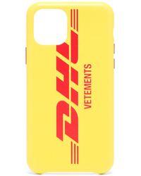 Vetements Dhlプリント レザー Iphone 11 Pro ケース - イエロー
