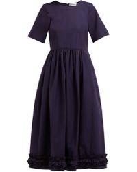 Molly Goddard Erika Ruffle Hem Cotton Dress - Blue