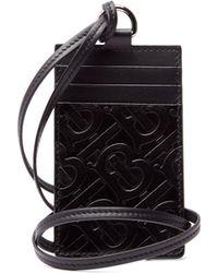 Burberry Logo Embossed Leather Necklace Cardholder - Black