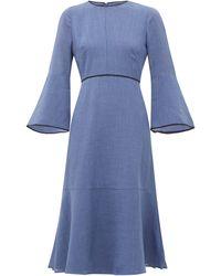 Cefinn Flared-sleeve Slubbed-gauze Dress - Blue