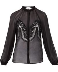 Gabriela Hearst Gia Lace-trimmed Silk-georgette Blouse - Black