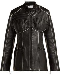Marine Serre - Corset Style Leather Biker Jacket - Lyst