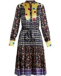 Duro Olowu | Contrast-panel Floral And Check-print Silk Dress | Lyst