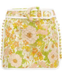 Zimmermann Mini-jupe en coton à brocart floral Super Eight - Jaune