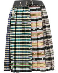 Chopova Lowena Leather Waistband Pleated-wool Skirt - Multicolor