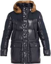 Moncler Frey Hooded Quilted Down Parka - Blue