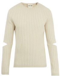 Helmut Lang - Cut-out Sleeve Ribbed-wool Sweater - Lyst