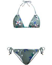 Thorsun Alex Floral-print Triangle Bikini - Blue