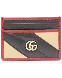 Gucci - Gg Marmont Striped Leather Cardholder - Lyst