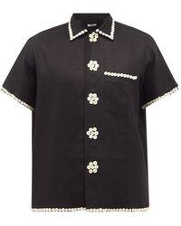 Bode パーリー ロイヤル ボタントリム コットンシャツ - ブラック