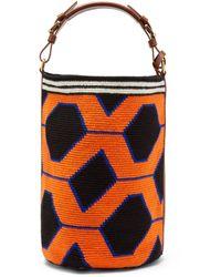 Colville Wayuu Geometric-weave Cotton Bucket Bag - Orange