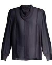 Fendi - Logo-embroidered Voile Blouse - Lyst