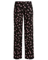Miu Miu - Cherry-print Mid-rise Wide-leg Trousers - Lyst