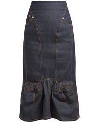 Marine Serre Sculpted Denim Midi Skirt - Blue
