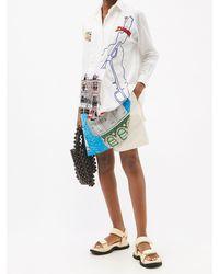 Kilometre Paris Saint-lunaire Embroidered Cotton-khadi Shirt Dress - White