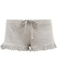 Skin Raffaela Ruffle-trimmed Pima-cotton Shorts - Grey